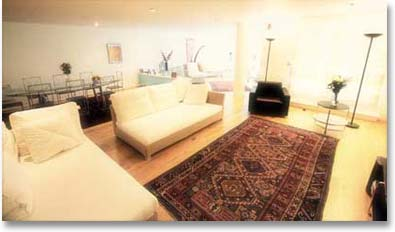 Old Caucasian Shirvan carpet in a fashionable contemporary room setting