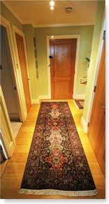 hallway with silk Srinagar runner carpet