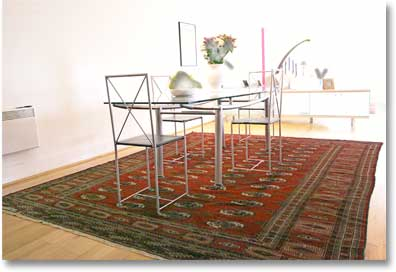 Tekke Turkoman carpet dining room interior